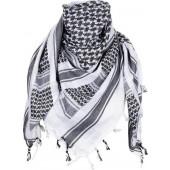 PLO sjaal van 100% katoen. wit/grijs