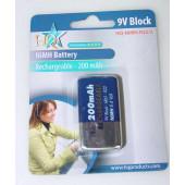 Oplaadbare 9 vot batterij, NiMH, 200mAh