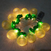 Feestverlichting ananas 10 stuks werkt op batterijen.