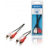 Stereo Audiokabel 2x RCA Male - 2x RCA Male 1m
