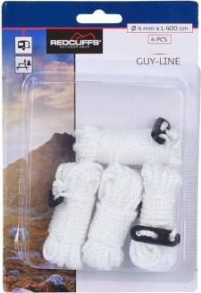 Witte scheerlijnen / touwen - Met gatspanners - 4 mm x 4 meter - Tent scheerlijn