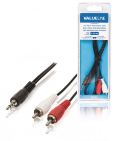 Stereo Audiokabel 3.5 mm Male - 2x RCA Male 1m